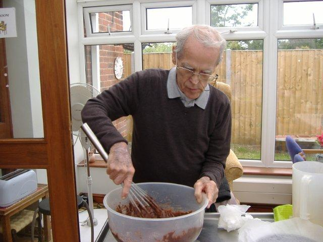 George making some cakes