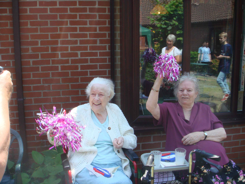 Residents Patricia and Patsy showing their enthusiasm for the Fete!
