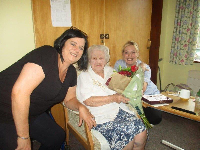 Sarah with our staff members Kim and Gemma at Dorrington House Watton