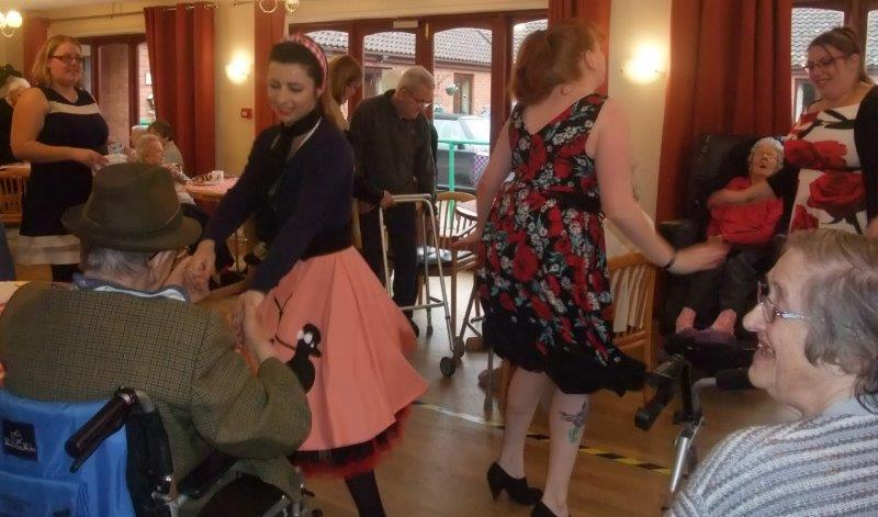 Carers; Gemma, Francesca, Cat, and Louise starting off the 50's style dancing. At our 50's themed dancing for dignity event at Dorrington House Dereham!