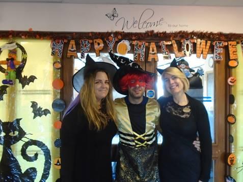 Manager Sotak, Office Helen & Maintenance Luke dressed up for Halloween! At Dorrington House Wells!