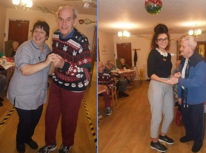 (Left) A cracking photo of Jane & Munroe. (Right) Our activities co-ordinator Elisabeth and resident Ken having a dance together!