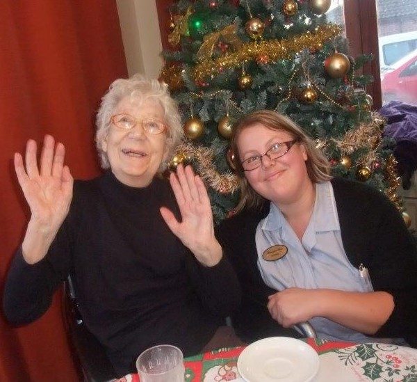 A lovely photo of our staff member Gemma & resident Jean at Dorrington House Dereham's residents & relatives christmas party!