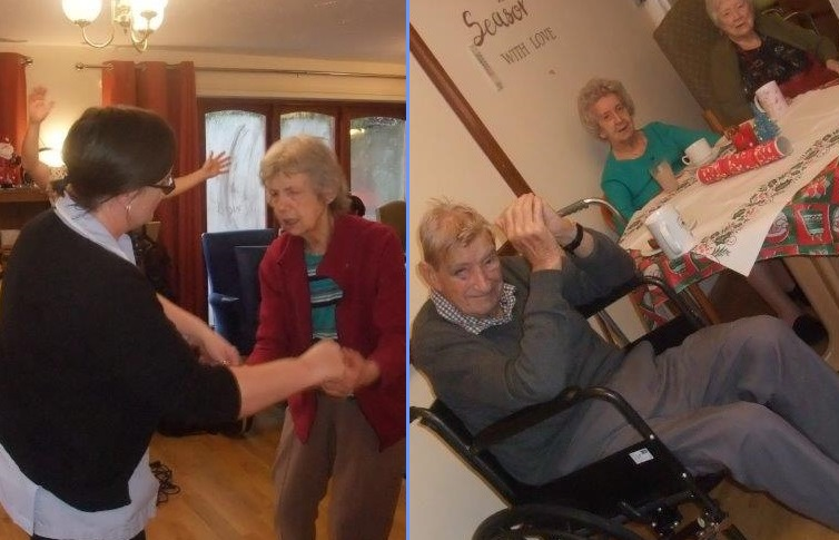 (Left)Carer Tarnya & Resident Sally having a dance together, (Right)Residents; Neville, Edna & Peggy