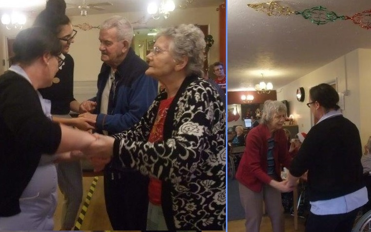 (Left)Resident Sally & Carer Tarnya dancing together (Right)Members of staff; Elisabeth & Tarnya dancing with residents; Irene & Ken!