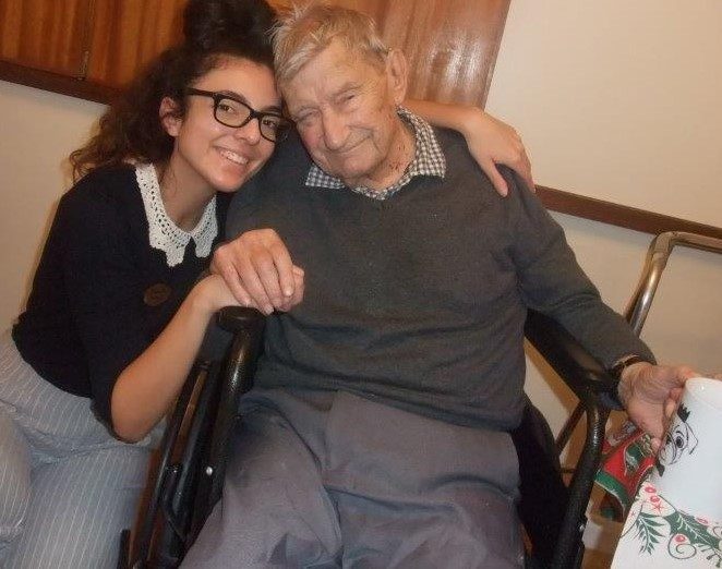 Our activities co-ordinator with resident Neville, at Dorrington House Dereham's residents & relatives christmas party!
