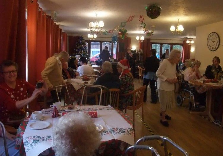 Our festive dining room filled with residents and families as part of Dorrington House Dereham's residents & relatives christmas party!