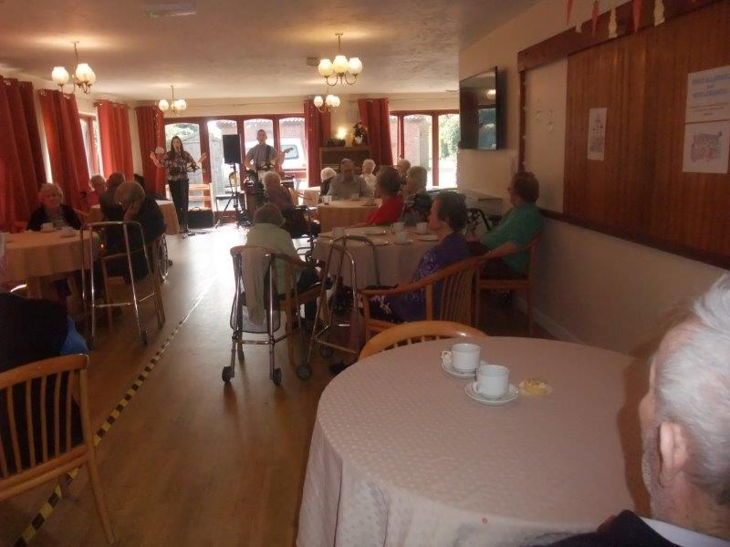 Our dining room filled with residents, for Dorrington House Dereham's Easter Party 2019!