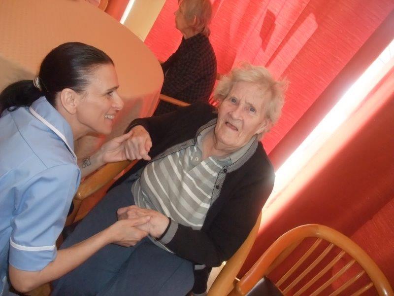 Resident Doreen and Carer Hajni at Dorrington House Dereham's Easter Party!