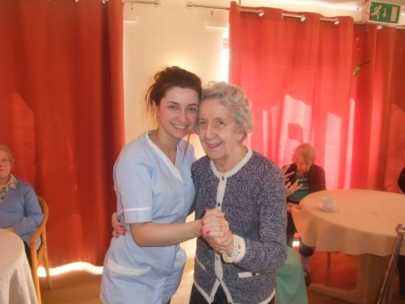 Resident Edna and Carer Francesca looking very happy at Dorrington House Dereham's Easter Party!