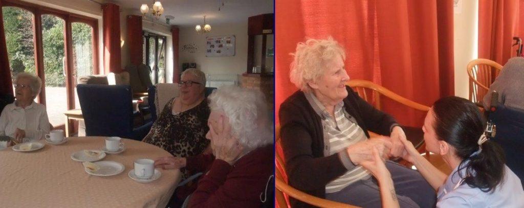 (Left) Residents; Betty, Margaret and Mary.            (Right) Resident Doreen and Carer Hajni.     At Dorrington House Dereham's Easter Party 2019!