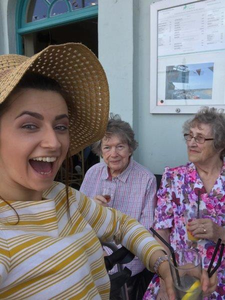 A lovely photo of our team leader Francesca with residents; Yvonne and June as part of Dorrington House Dereham's trip to wells next the sea!