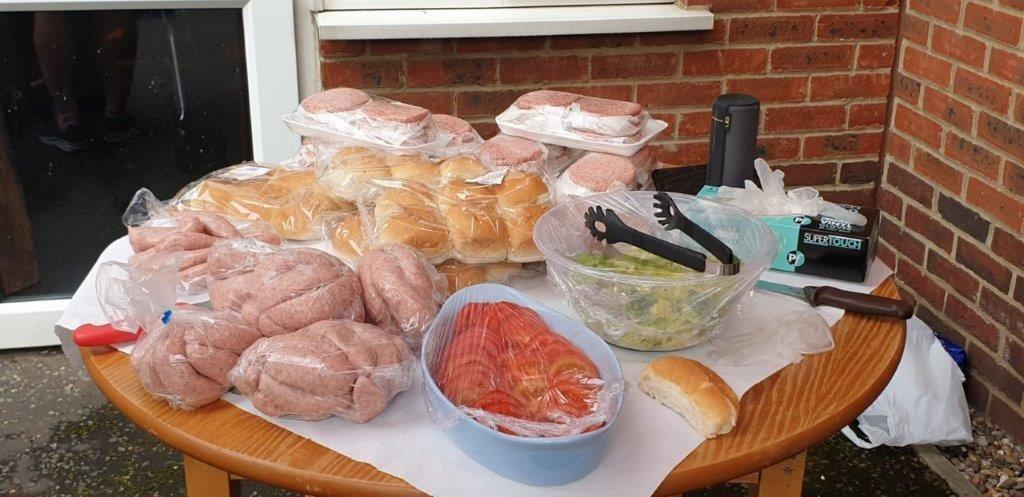 Burgers hot dogs and fresh salad as part of Dorrington House Watton's 20th Birthday!