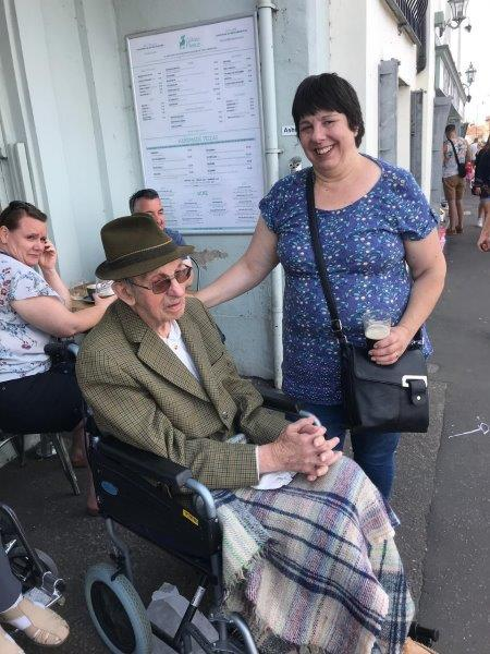 One of our staff members Jane with resident Basil as part of Dorrington House Dereham's trip to wells next the sea!