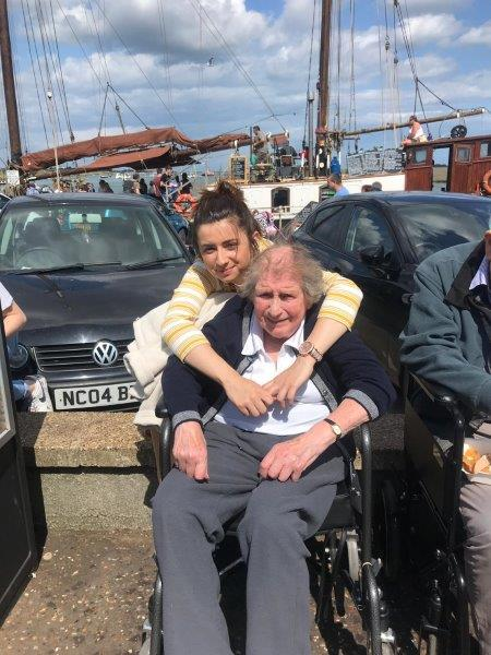 One of our team leaders Francesca with resident Marion as part of Dorrington House Dereham's trip to wells next the sea!