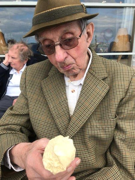 Resident Basil enjoying an ice cream at wells next the sea!
