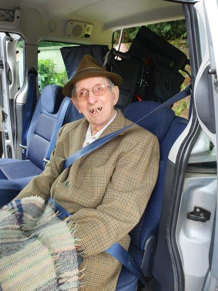 Resident Basil in the car ready for Dorrington House Dereham's trip to wells next the sea!