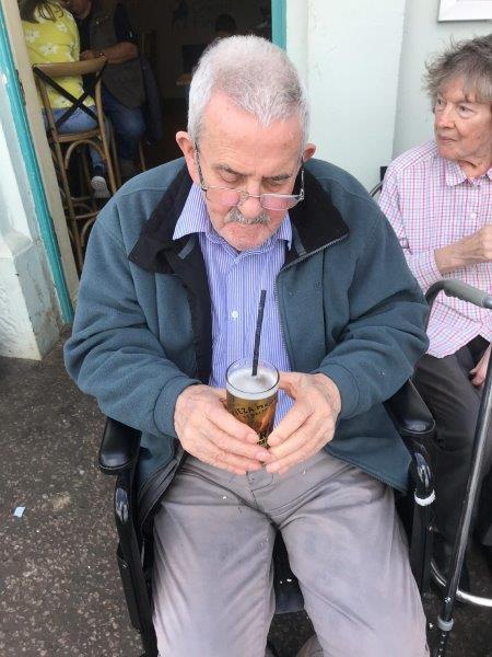Resident Ken having a nice cold beer at wells next the sea as part of Dorrington House Dereham's trip to the coast!