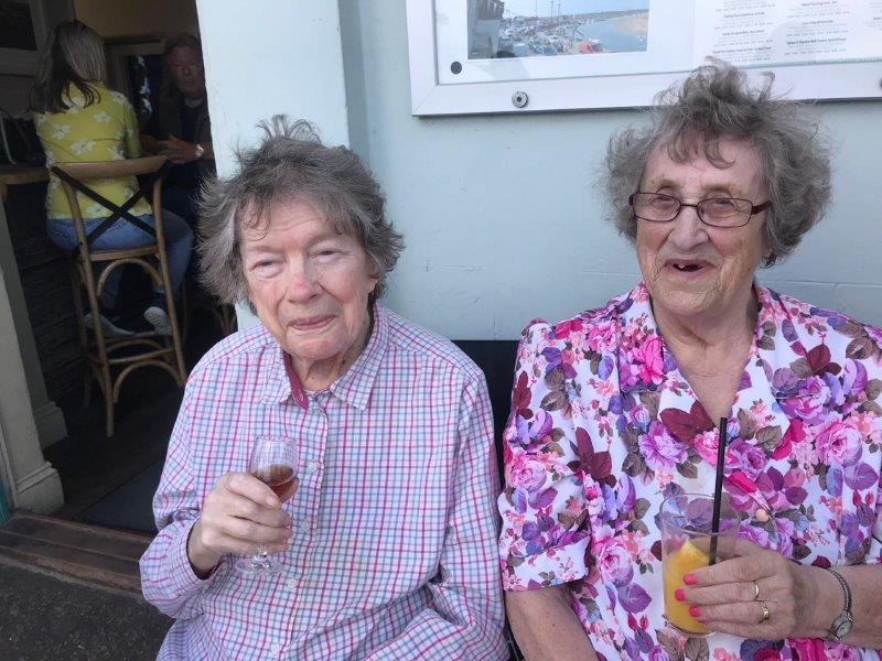Residents Yvonne and June at wells next the sea as part of Dorrington House Dereham's trip to the coast!