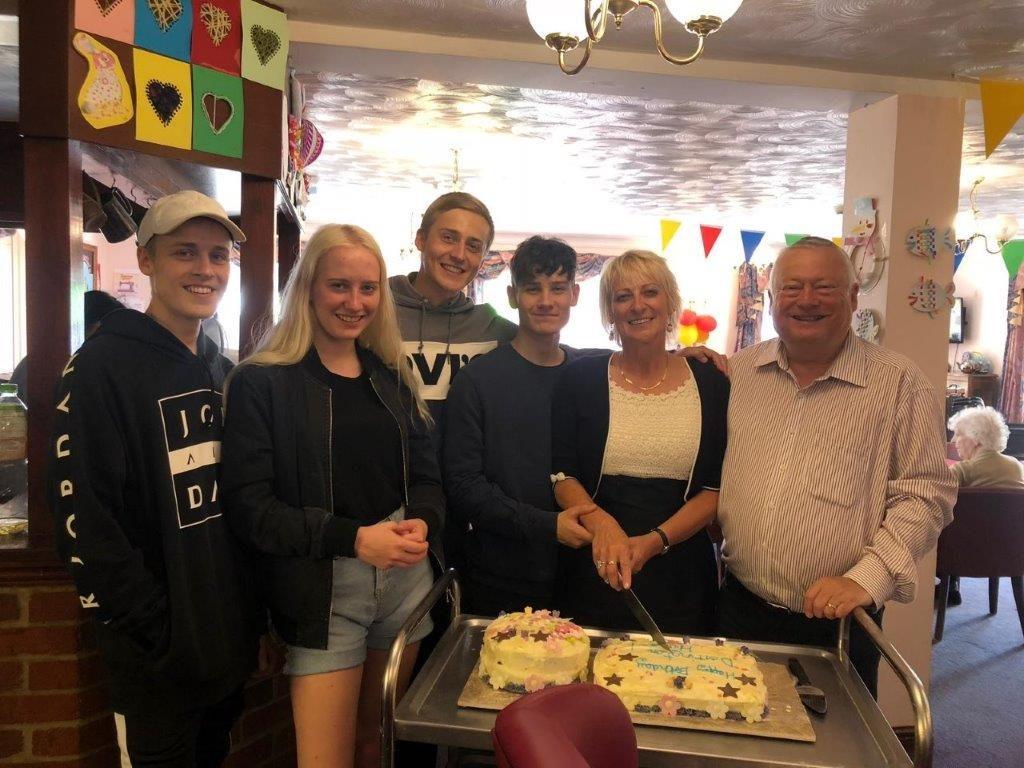 The Dorrington's cutting Dorrington House Watton's 20th Birthday Cake!