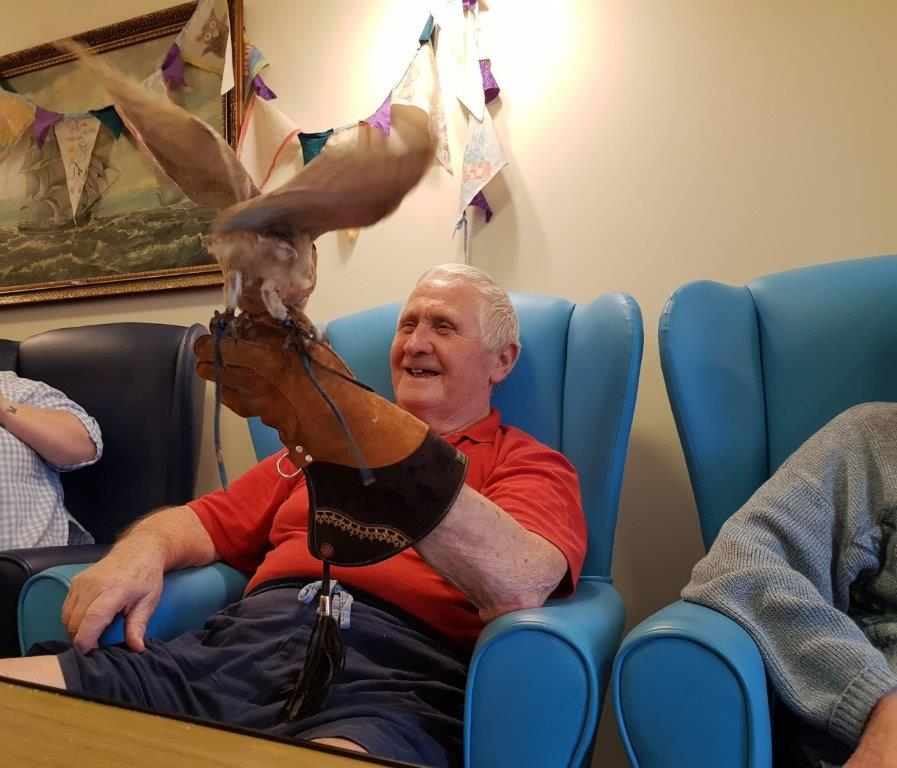 Here we have Paddy with an owl on his arm. From our Birds of Prey visit at Dorrington House Wells!