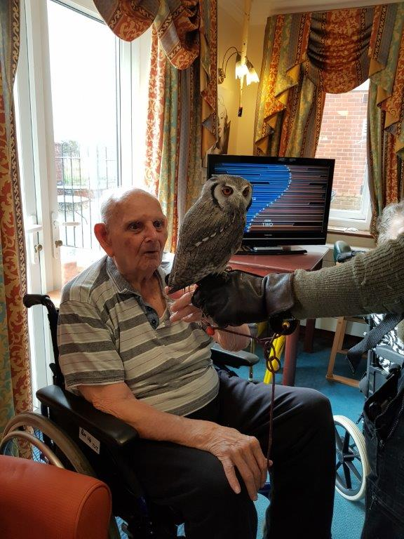 One of our residents Dougie having a close look at the Owl in front of him. From our Birds of Prey visit at Dorrington House Wells!