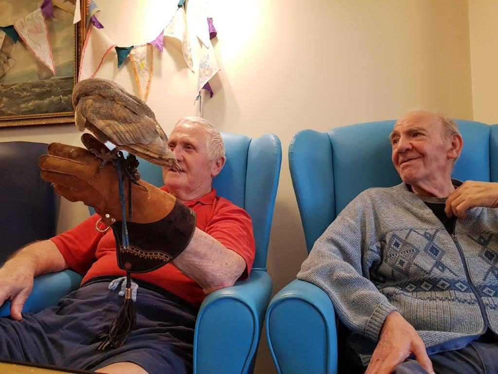 Residents; Paddy and Hugh looking very happy from our Birds of Prey visit at Dorrington House Wells!