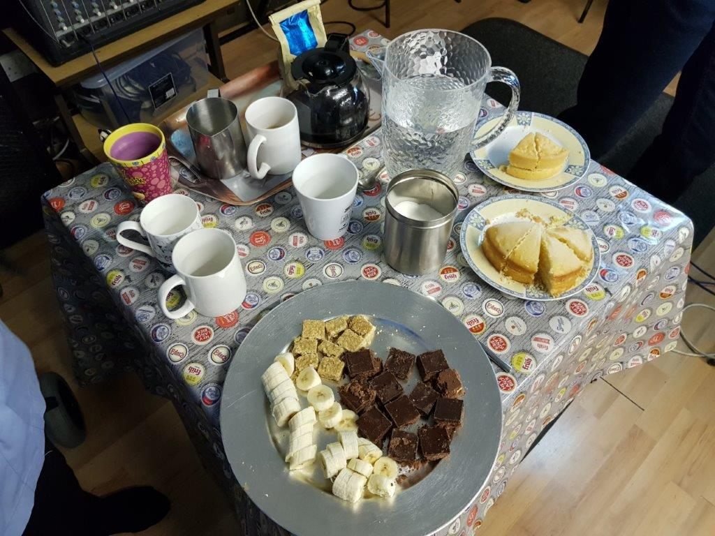 Hot drinks and snacks at JDTs music morning with our residents!